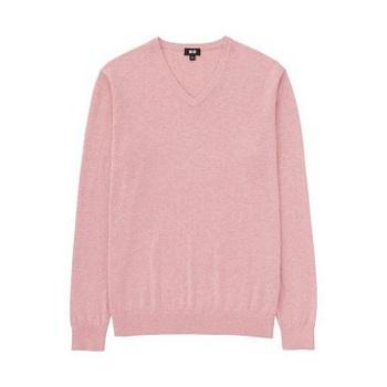 MEN コットンカシミヤVネックセーター(長袖) ピンク.jpg