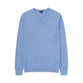 MEN コットンカシミヤVネックセーター(長袖) ブルー.jpg