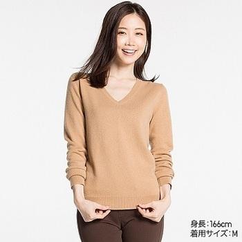 WOMEN カシミヤVネックセーター(長袖).jpg