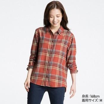 WOMEN フランネルチェックシャツ(リラックスフィット・長袖).jpg